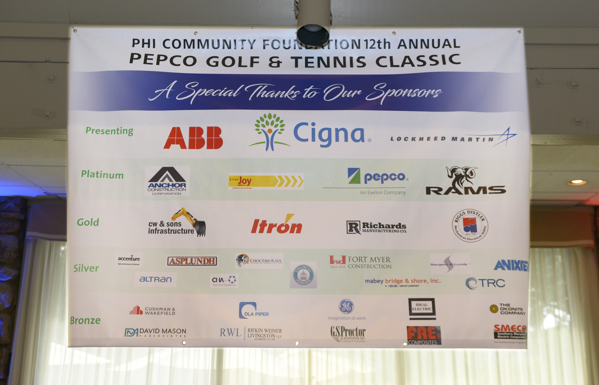 Sponsors of the Pepco Golf & Tennis Classic banner